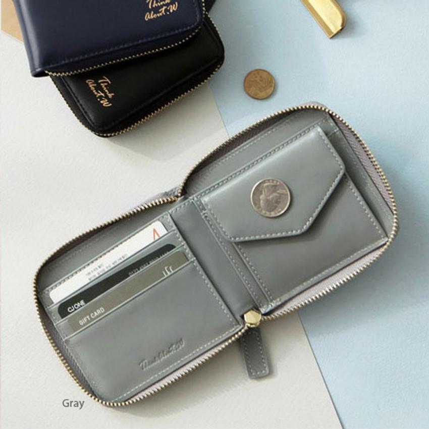 Gray - Think about w Genuine Leather zip around wallet