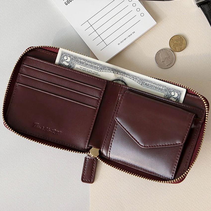 Burgudny - Think about w Genuine Leather zip around wallet