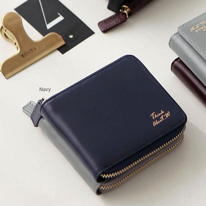 Navy - Think about w Genuine Leather zip around wallet