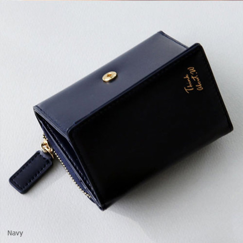 Navy - Think about w genuine leather small trifold wallet