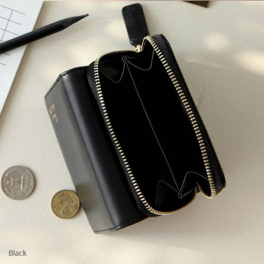 Black - Think about w genuine leather small trifold wallet