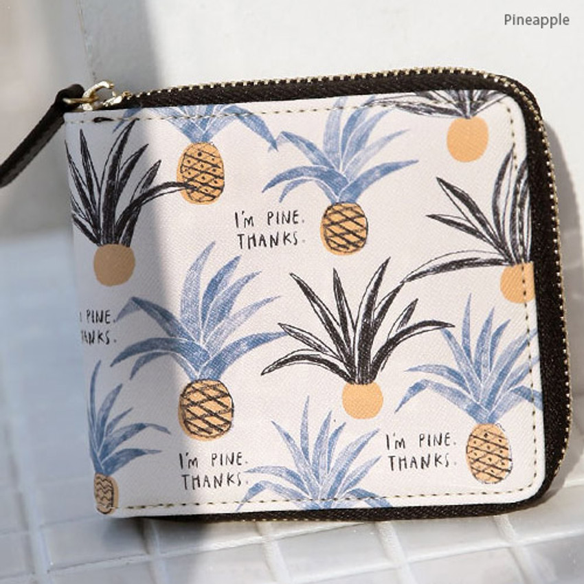 Pineapple - With Alice Rim pattern zip around wallet
