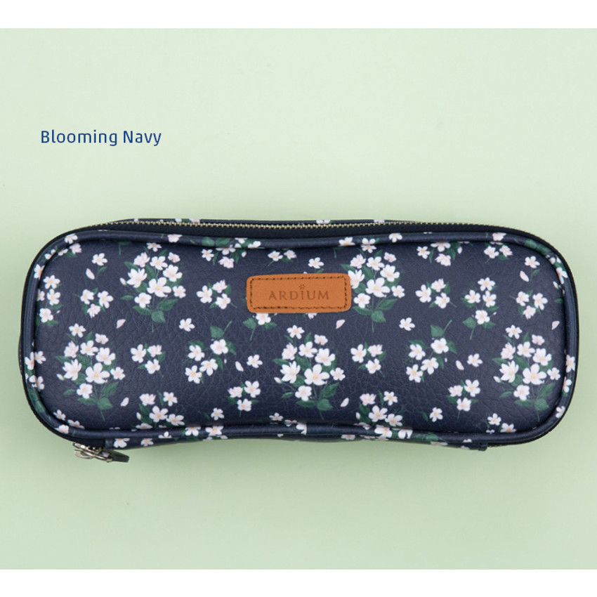 Blooming navy - Lovely pattern block pencil case pouch