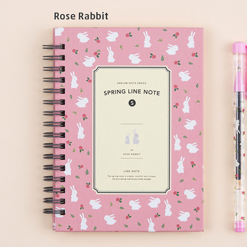 Rose rabbit - Wirebound spring lined small notebook