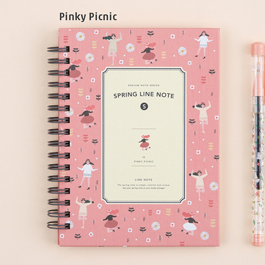 Pinky picnic - Wirebound spring lined small notebook