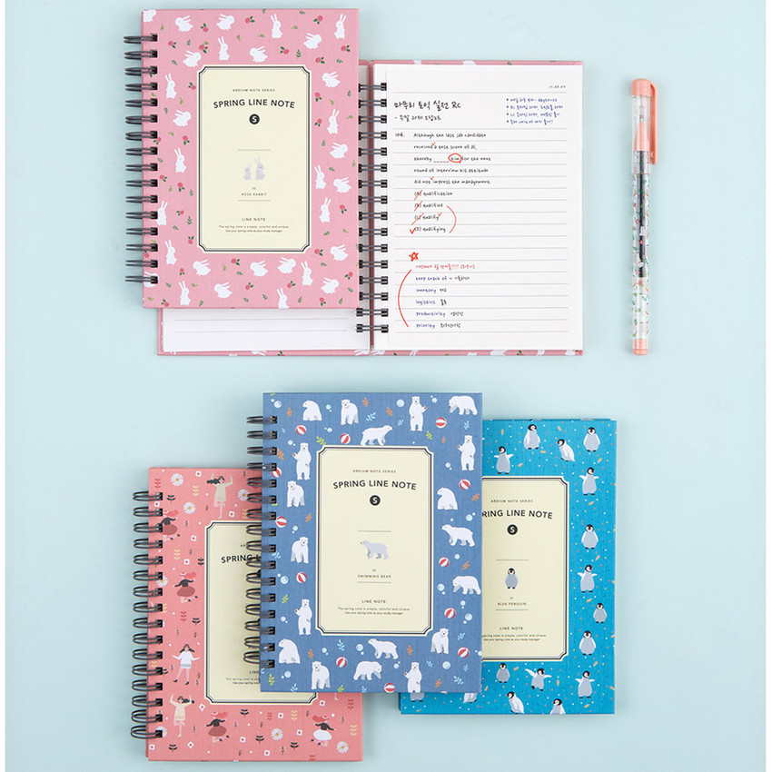 Wirebound spring lined small notebook