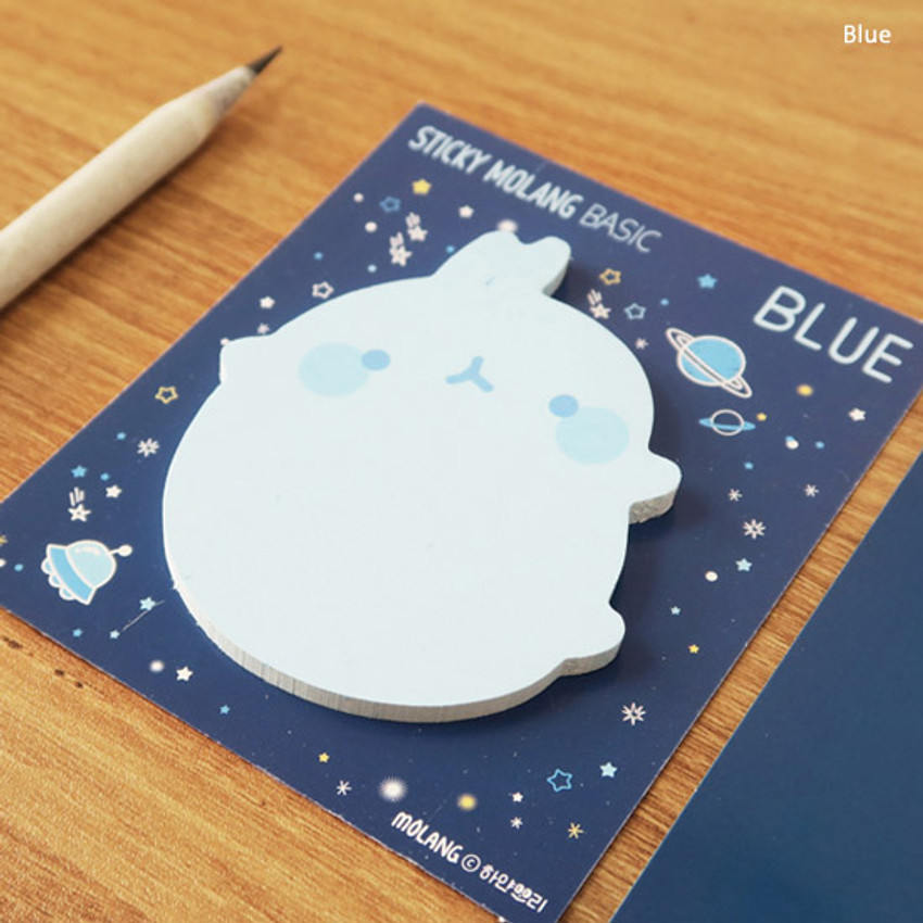 Blue - Molang basic cute sticky memo note ver.2