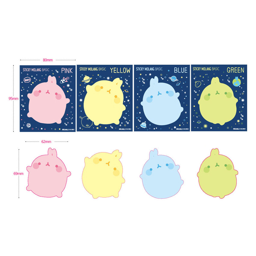 Size of Molang basic cute sticky memo note ver.2