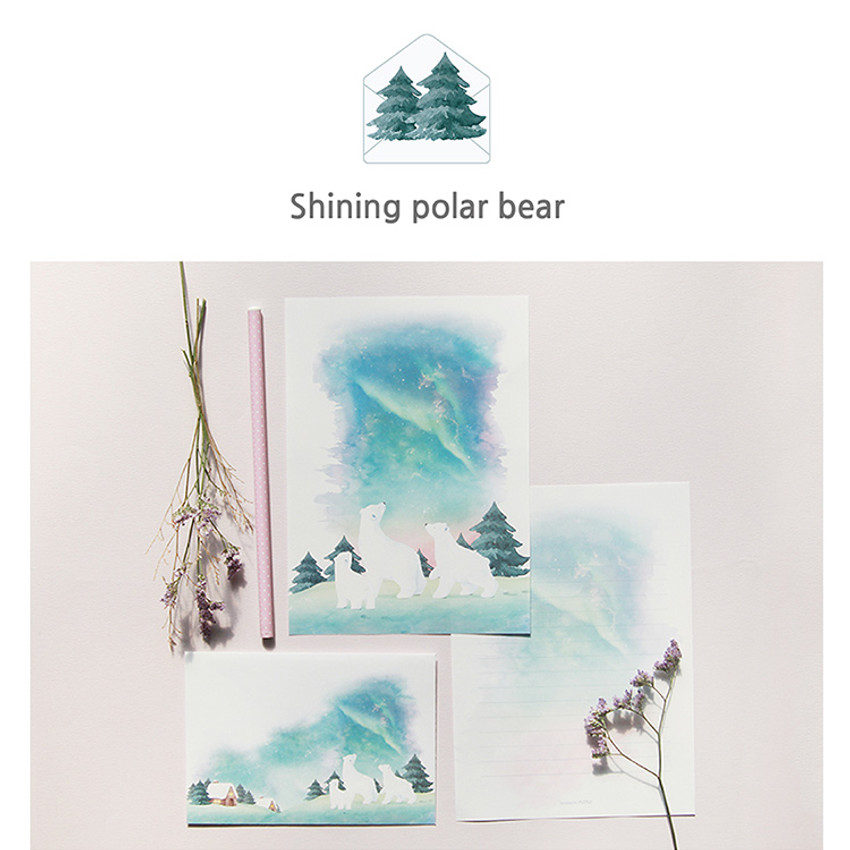 Shining polar bear - My story letter paper and envelope set with stickers