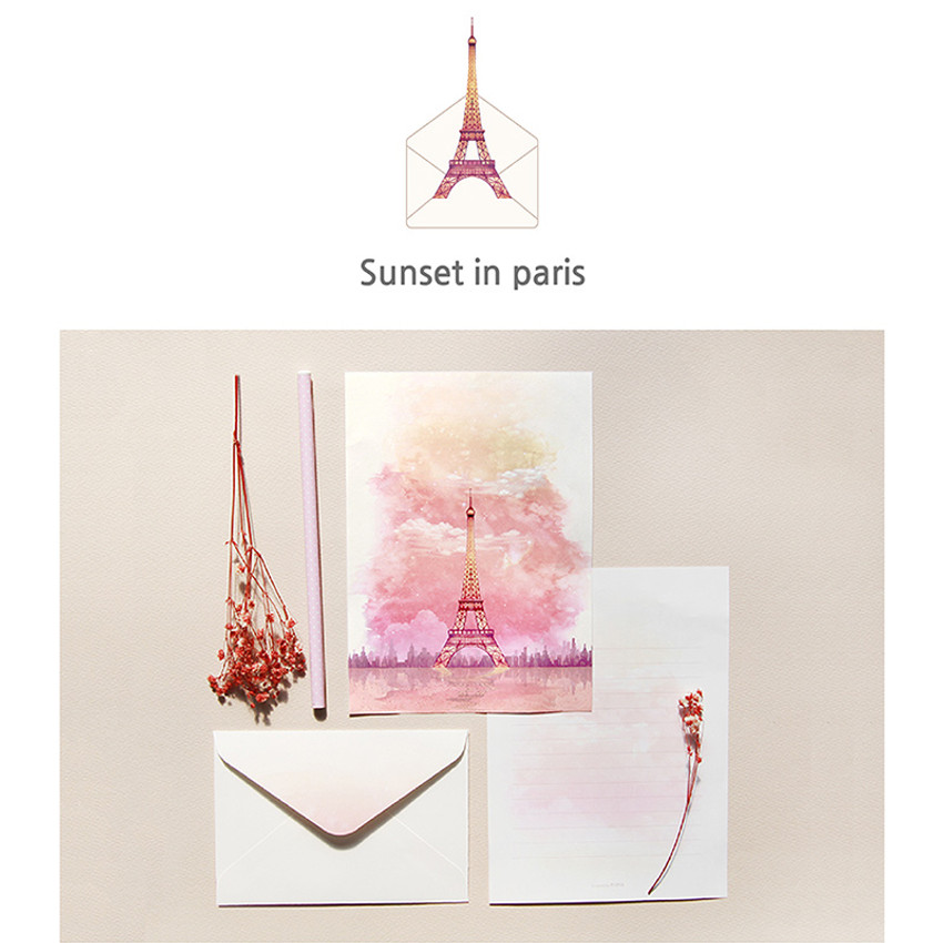 Sunset in paris - My story letter paper and envelope set with stickers