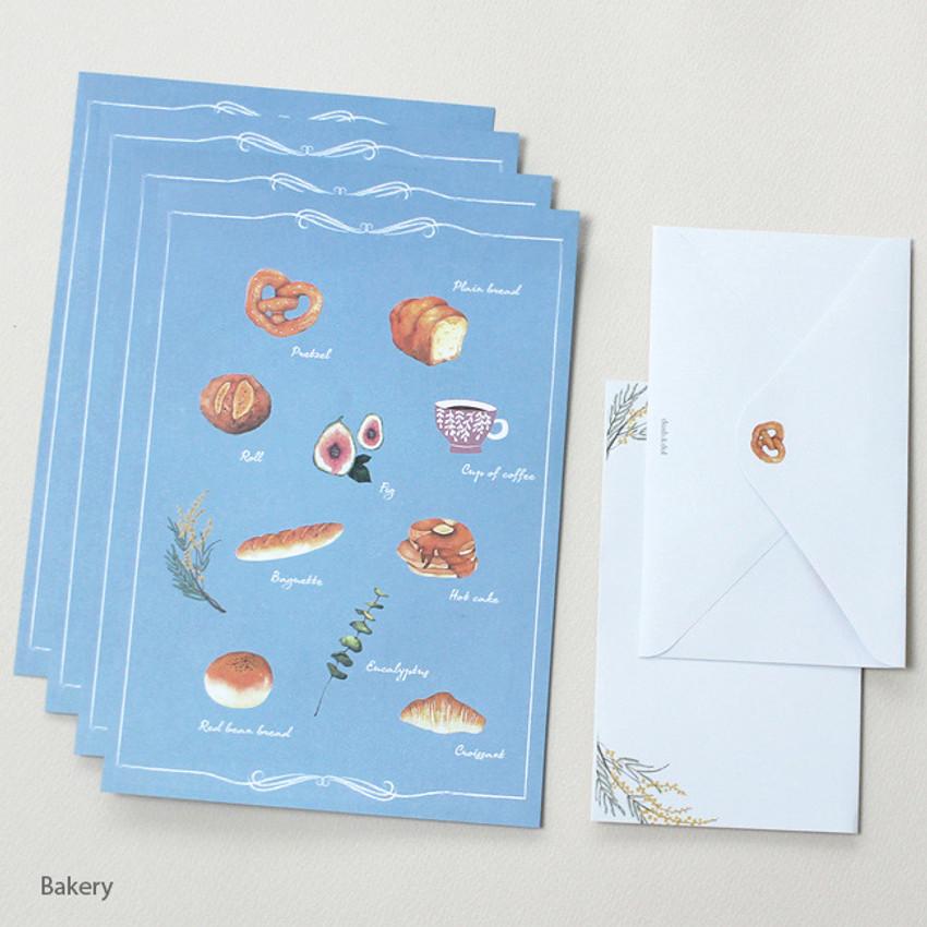 Bakery - Pattern illustration letter paper and envelope set