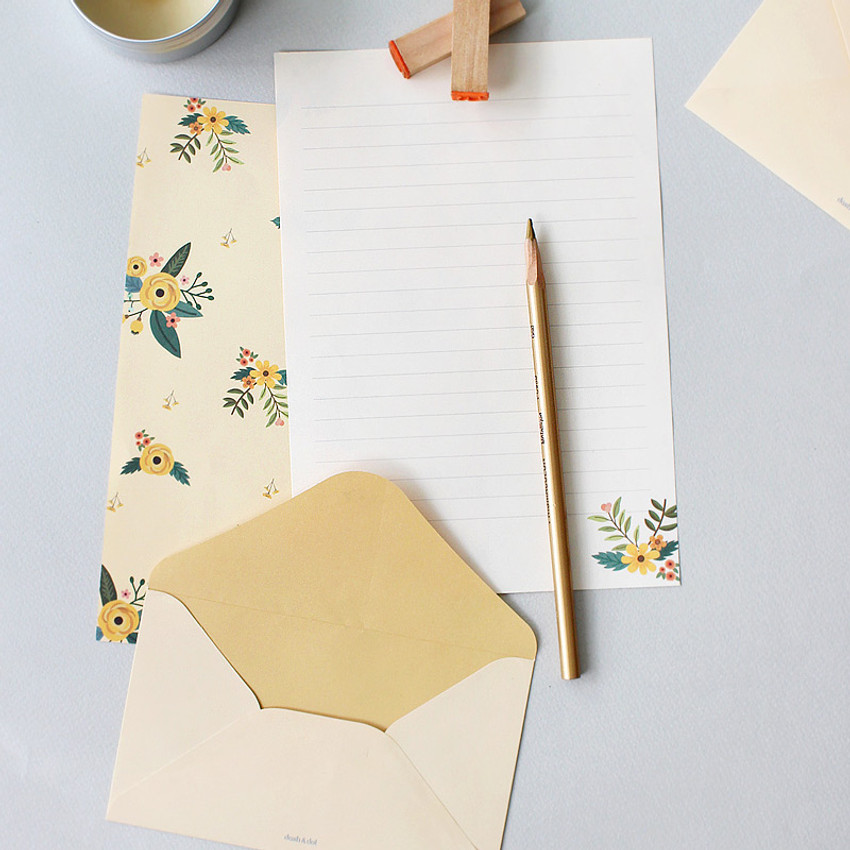 Yellow grace - Pattern illustration letter paper and envelope set