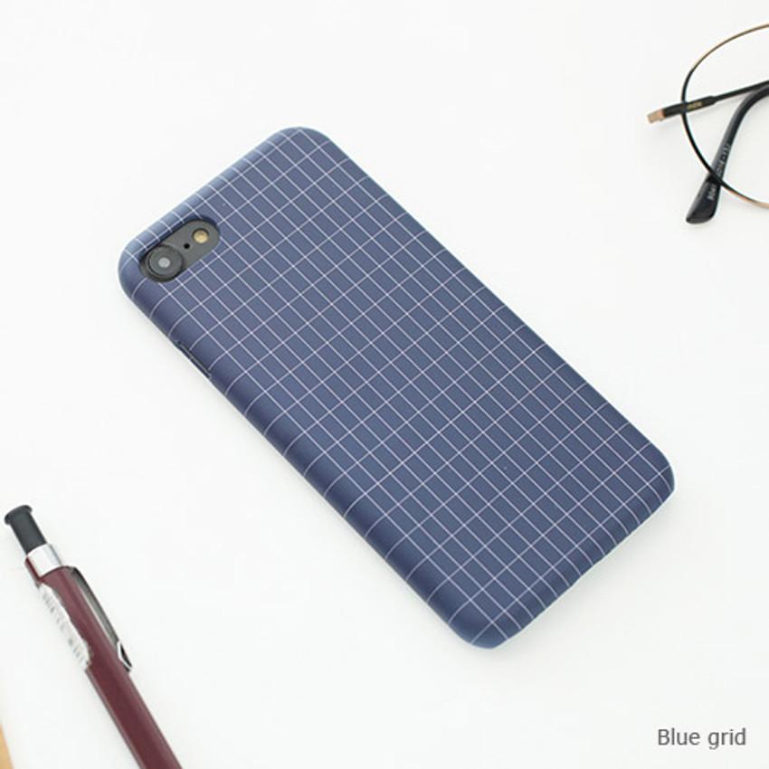 Blue grid - Matte simple hard case for iPhone 7
