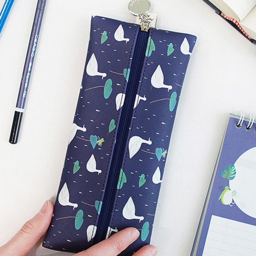 Navy duck - Willow illustration pattern zipper pencil case