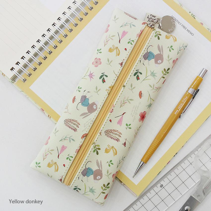 Yellow donkey - Willow illustration pattern zipper pencil case