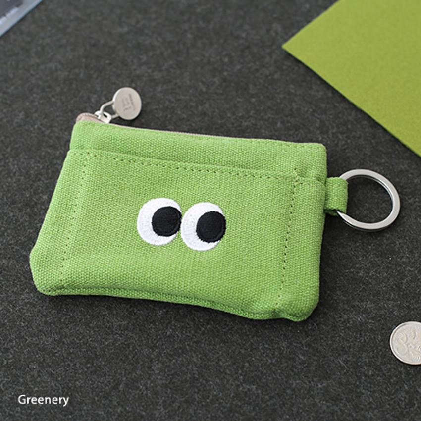 Greenery - Som Som stitching card case with key ring
