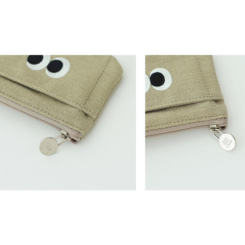Khaki beige - Som Som stitching card case with key ring