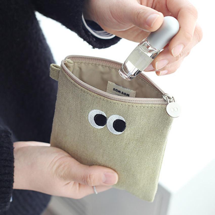 Khaki beige - Som Som stitching small zipper pouch