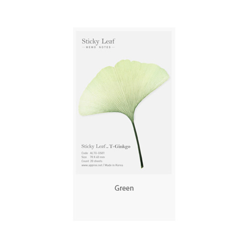 Green - Ginkgo leaf transparent sticky memo notes Small