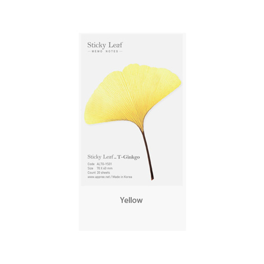 Yellow - Ginkgo leaf transparent sticky memo notes Small