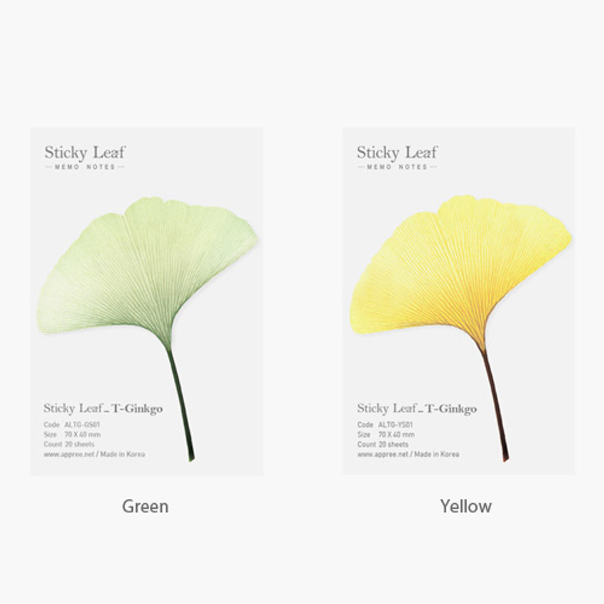 Color of Ginkgo leaf transparent sticky memo notes Small