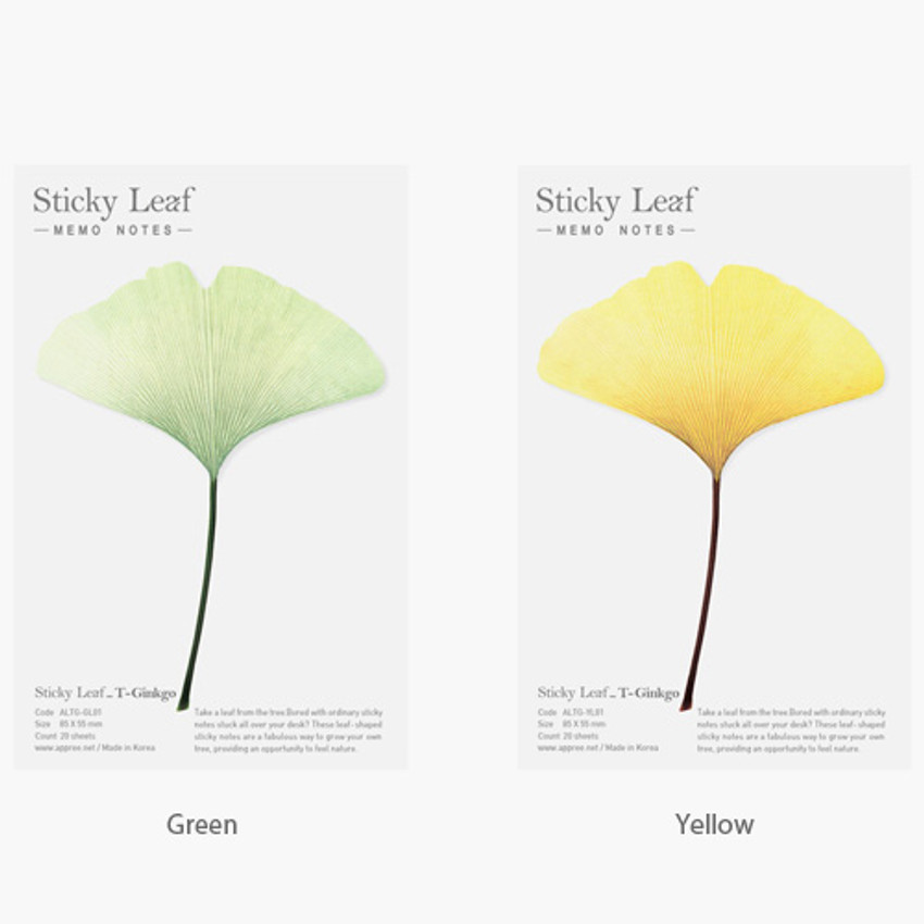 Color of Ginkgo leaf transparent sticky memo notes Medium