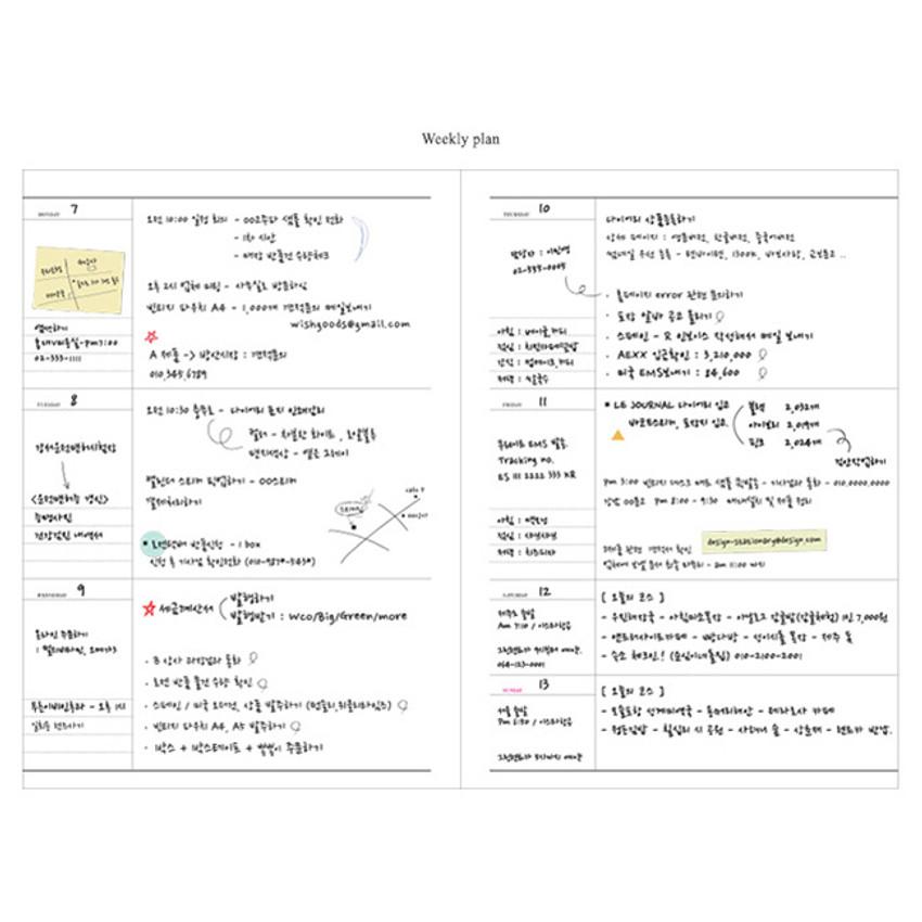 Weekly plan - Le journal undated weekly planner