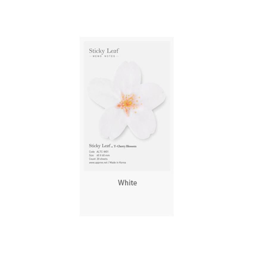 White - Cherry blossom transparent sticky memo notes Small