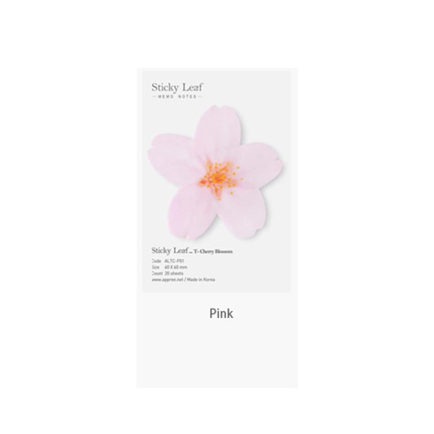 Pink - Cherry blossom transparent sticky memo notes Small
