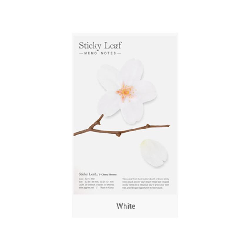 White - Cherry blossom transparent sticky memo Medium