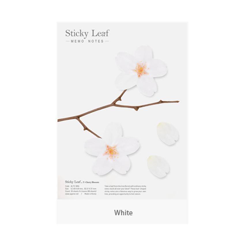 White - Cherry blossom transparent sticky memo notes Large