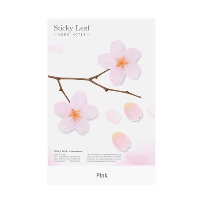 Pink - Cherry blossom transparent sticky memo notes Large