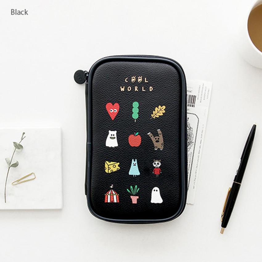 Black - Ghost pop cute illustration pencil case ver2