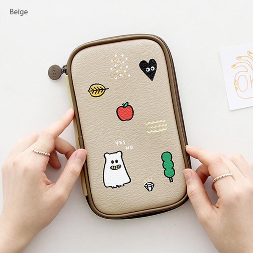 Beige - Ghost pop cute illustration pencil case ver2