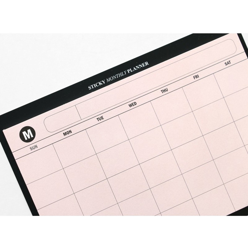 Pink - Simple sticky monthly planner
