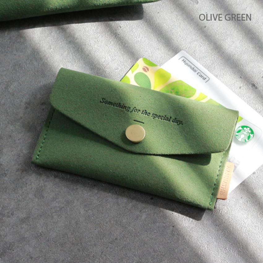 Olive green - Wanna be chamude flat pocket card case