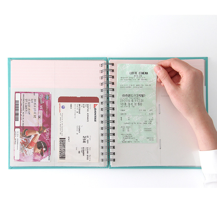 Use example of Prism spiral slip in pocket ticket album