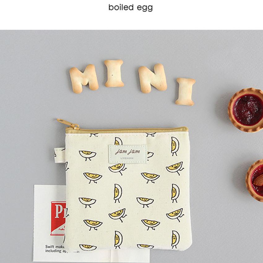Boiled egg - Jam Jam cute illustration pattern small zipper pouch