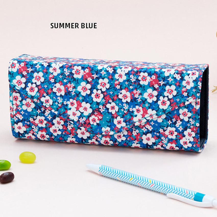 Summer blue - Pattern square pencil case box ver2
