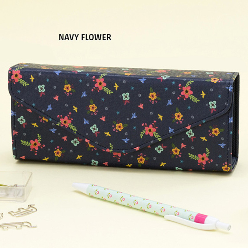 Navy flower - Pattern square pencil case box ver2