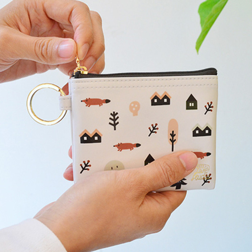 White - In the zoo coin card zipper wallet with key ring