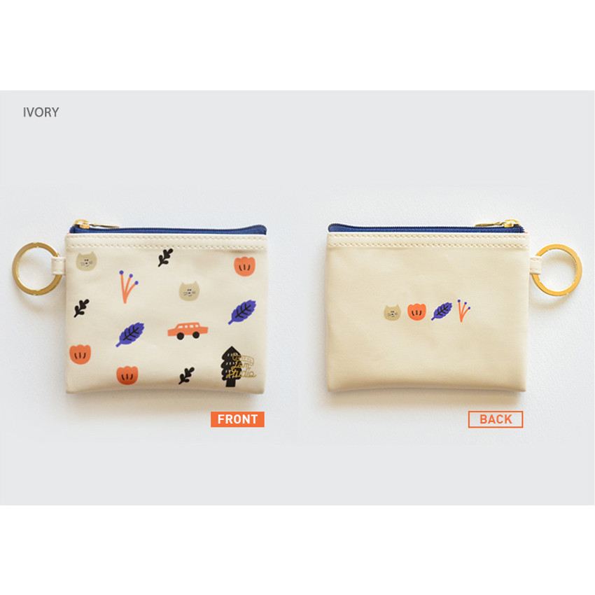 Ivory - In the zoo coin card zipper wallet with key ring