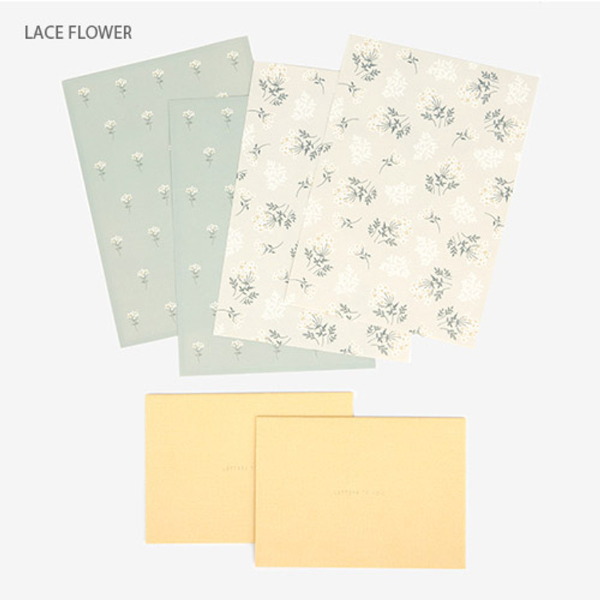 Lace flower - Present your heart daily letter paper and envelope set