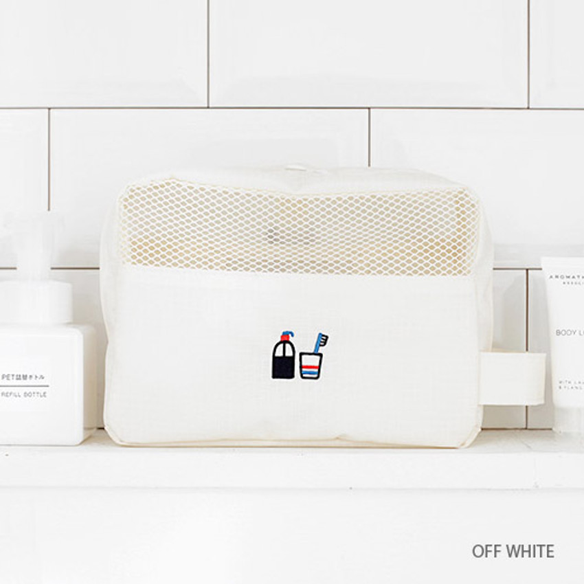 Off white - Travel toiletry bag with hand strap