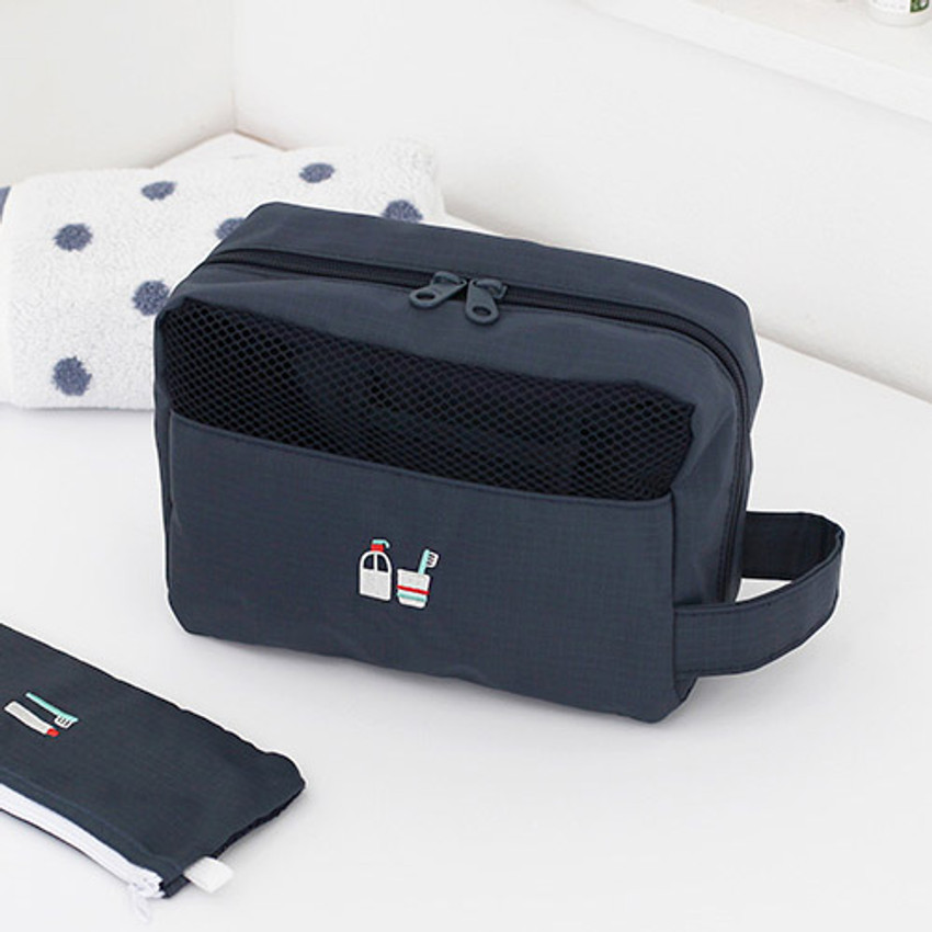 Ashy navy - Travel toiletry bag with hand strap