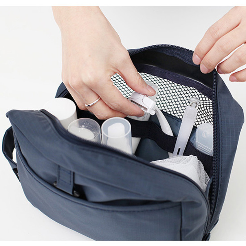 4 elastic band slots - Travel toiletry bag with hand strap