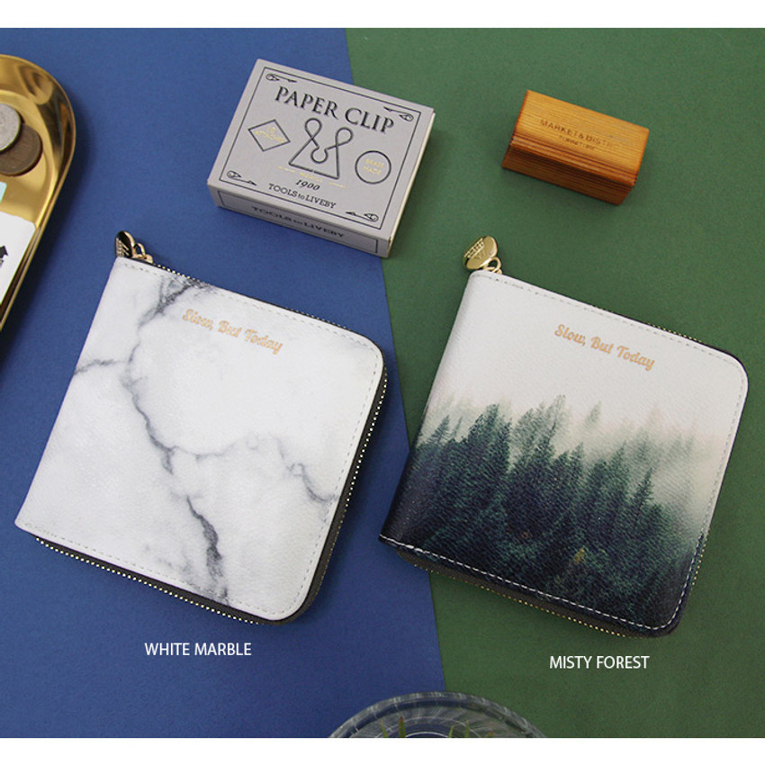 White marble, Misty forest - But today zip around wallet