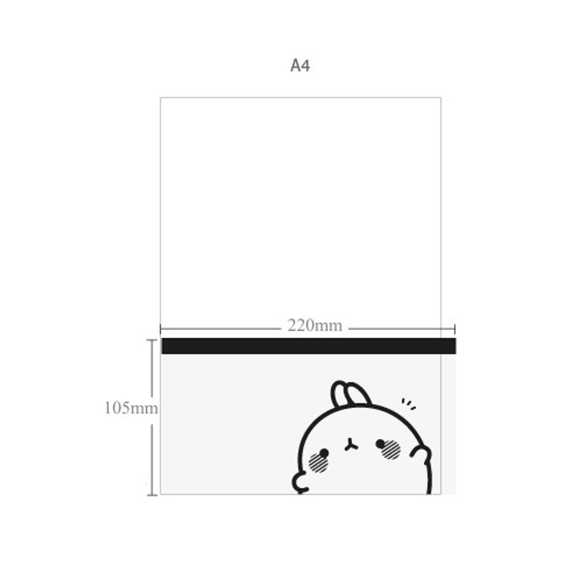 Size of Molang zip lock medium pouch ver2