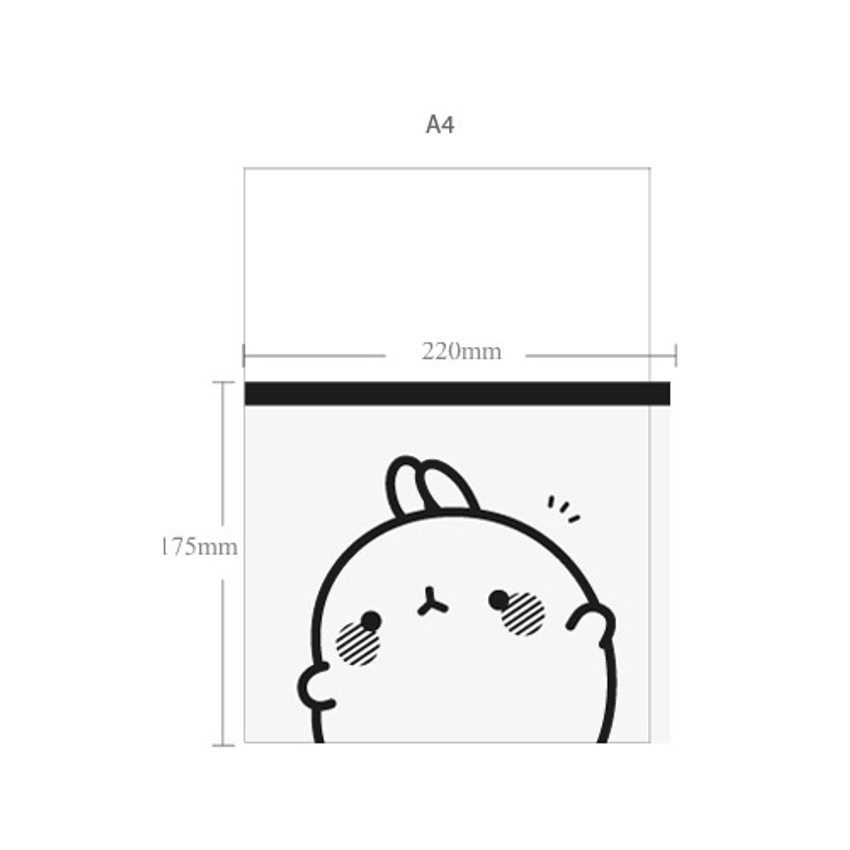 Size of Molang zip lock large pouch ver2