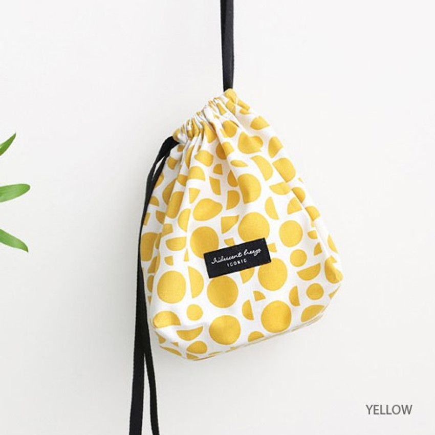 Yellow - Comely pattern cube drawstring pouch